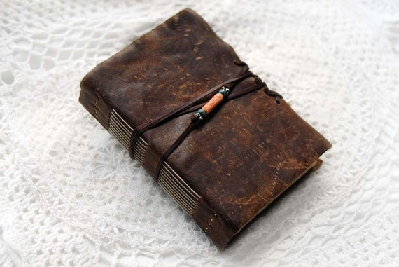 Up & Away - Distressed Brown Leather Travel Journal with Tea-Stained Pages
