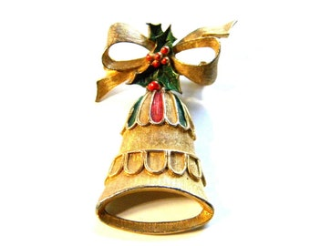 Gerrys Christmas Pin with Bell Bow and Enamel Vintage Brooch