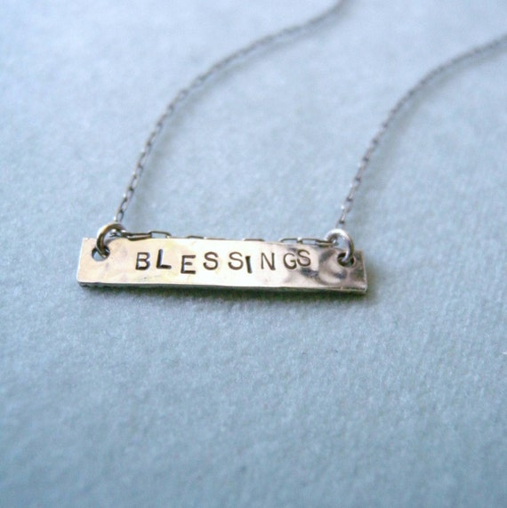 Sterling Silver BLESSINGS Handstamped Necklace Unique Etsy Jewelry Free Shipping in US