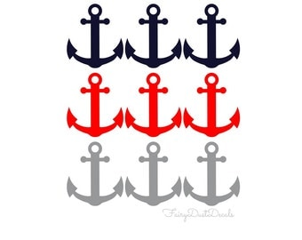 Anchor wall decals - Set of 9 - Baby Boy Nursery wall decals - Nautical Wall Decor - nautical wall art - sailboat anchor wall decal - anchor