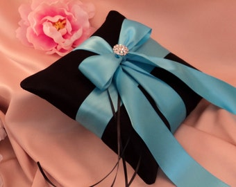 Romantic Satin Elite Ring Bearer Pillow...You Choose the Colors...Buy One Get One Half Off...shown in black/turquoise