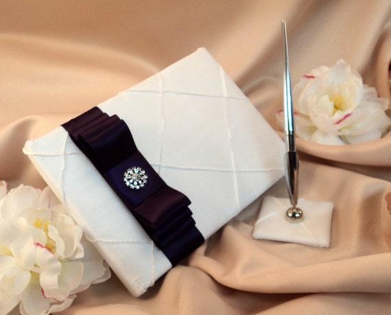 Pintuck Taffeta Diamonds Wedding Guestbook and Pen Set..Shown in white/eggplant deep purple