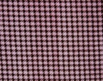 SALE - Houndstooth in Brown/Hot Pink - 1 yard - Minky - from Shannon Fabrics