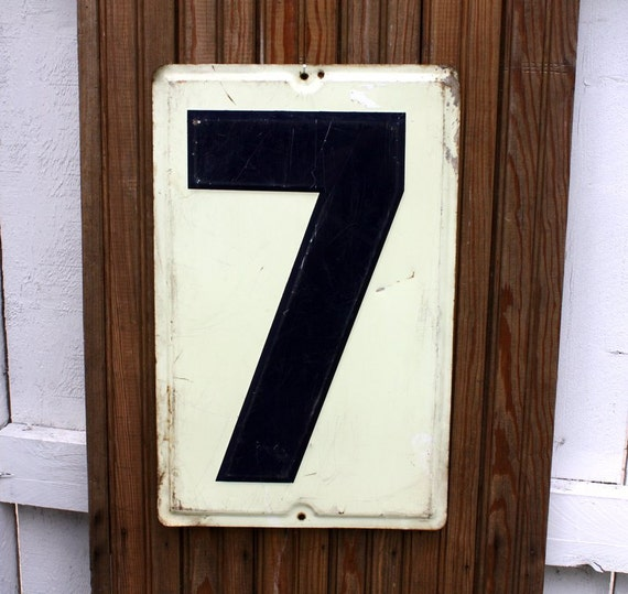 Vintage Embossed Tin Gas Station Sign Lucky Number Seven 7