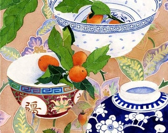 Kumquats and ceramics still life: watercolour, blank C6 greeting card