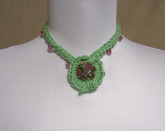Beaded Green Statement Choker Necklace with Decorative Closure - Ready to Ship Leaf Design Crochet Cotton