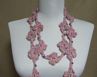 Pink Silk Beaded Flower Lariat - Ready To Ship Skinny Scarf Crochet Necklace Jewelry Circle Infinity Scarf