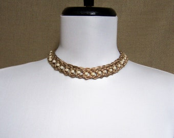 Beaded Necklace in Ecru and Beige - Ready To Ship  Adjustable Tan Cotton Crochet Choker
