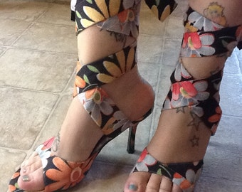 Floral Strappy Heels size 8