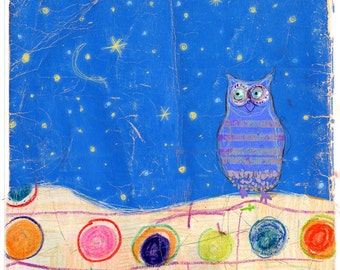 Good Night  - owl illustration print or note card