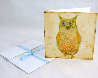 Yellow Owl -Owl illustration print or note card
