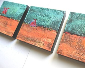 SALE, Turquoise Acrylic Abstract Paintings Original Triptych on Canvas, Modern home decor, wall hanging, gift idea