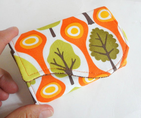 Business Card Holder - Orange Olive Green Trees Fabric Handmade Card Wallet - Central Park
