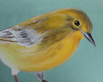 """Yellow Warbler Bird on Light Blue Background painting - """"9 x 12"""" ready to hang"""