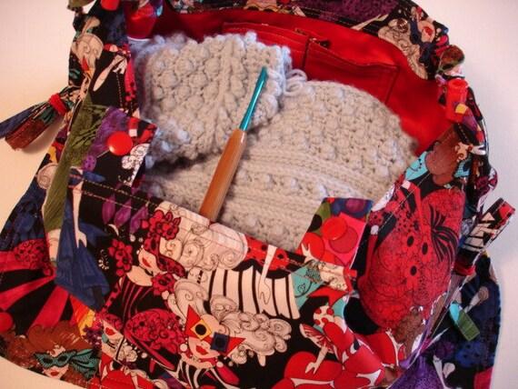 SALE KNITTING BAG Apron - Loralie Harris Mardi Gras Crowded Dance Floor Rare Fabric