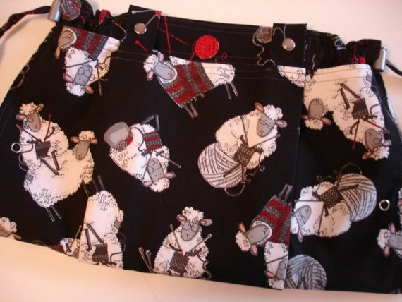 KNITTING BAG APRON - Made To Order - Do Ewe Knit Timeless Treasures Sheep Fabric