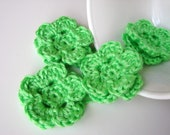 Lime Green Crochet Flower Appliques - Set of 4 - Embellishments Supplies Adornment Floral DIY Craft Project - MADE to ORDER