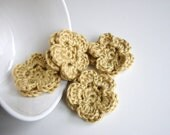 Tan Crochet Flower Appliques - Set of 4 - Embellishments Supplies Adornment Floral DIY Craft Project - MADE to ORDER