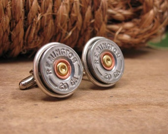 Shotgun Casing Jewelry - Bullet Jewelry - Silver 20 Gauge Shotgun Casing Cuff Links - Groomsmen Gifts - Gift for Man - Gun Jewelry