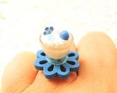 Kawaii Food Ring Ice Cream Miniature Food Jewelry Blue Flower SALE