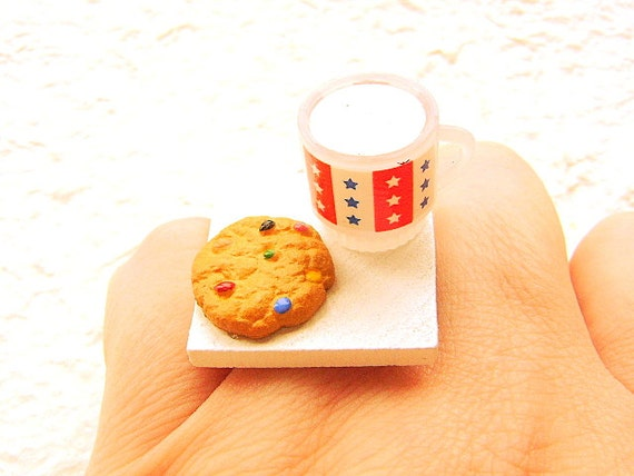 Cookie Ring Miniature Food Jewelry Milk And A Cookie Gifts Under 10 SALE