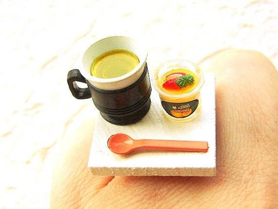 Green Tea Ring Kawaii Miniature Food Jewelry Tea And Fruit Jelly Ring SALE