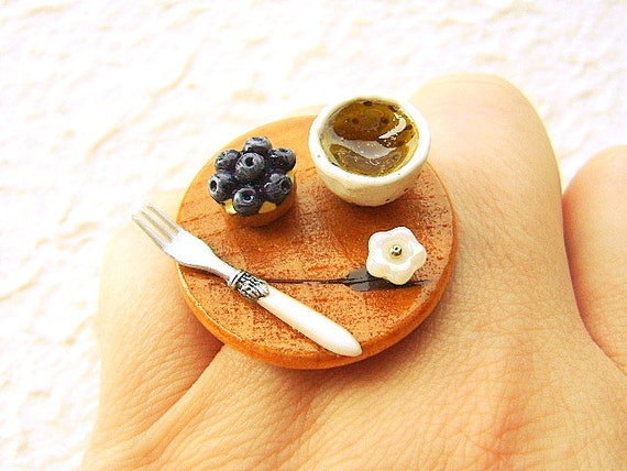 Green Tea Ring Miniature Food Jewelry Green Tea Blueberry Tart Ring Traditional Japanese Food