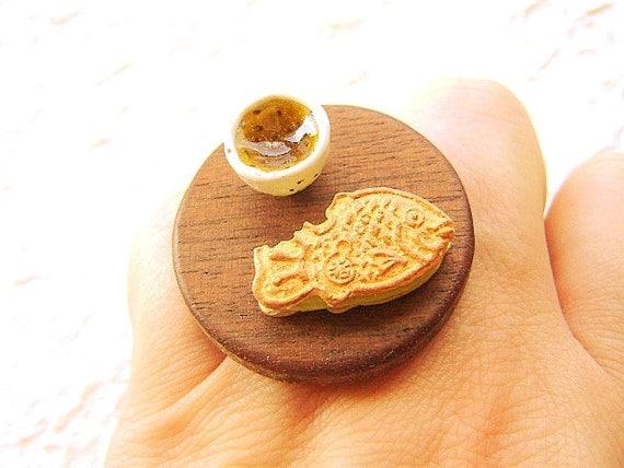 Kawaii Japanese Food Ring Green Tea Taiyaki Food Jewelry Traditional Japanese