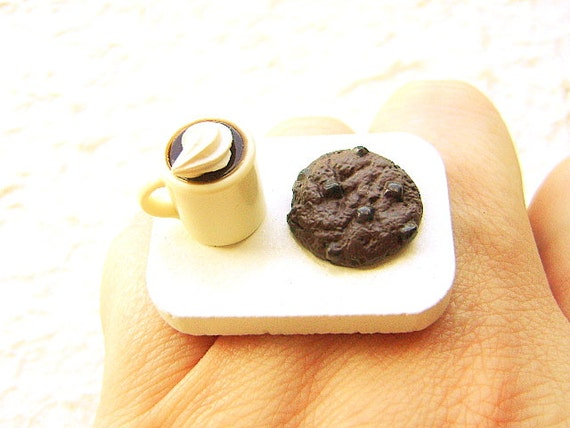 Coffee Ring Miniature Food Jewelry Coffee And A Chocolate Cookie SALE