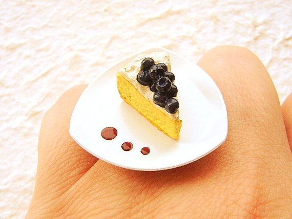 Cake Ring Blueberry Cake  Miniature Food Jewelry