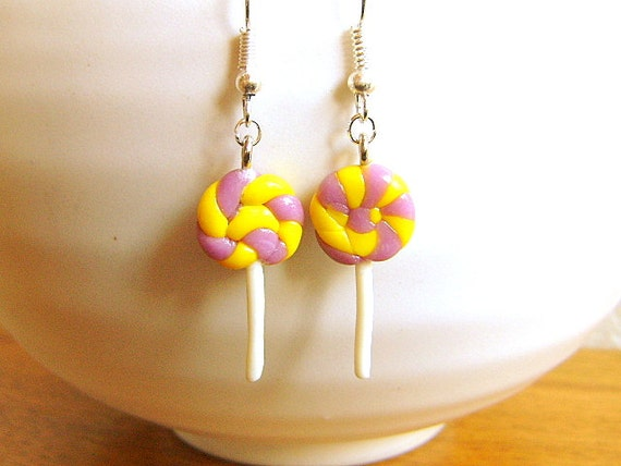 Lollipop  Earrings Miniature Food Jewelry Gifts Under 10