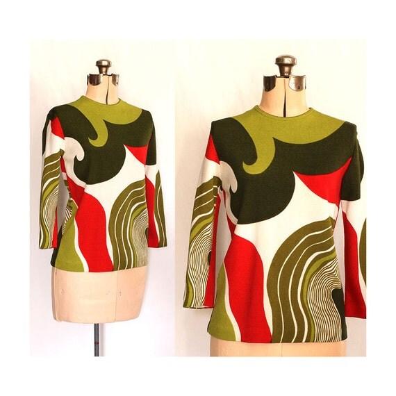 Vintage 60s Optastic Swirly Girlie Shirt