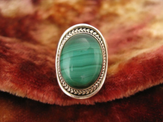 Ring - Size 7 3/4 - Sterling Silver - Malachite Ring - Green Stone - Green Lines - Large Women Ring - Natural Stone
