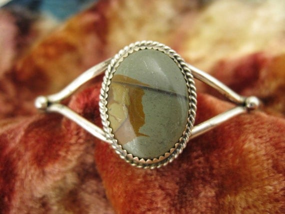 Cuff Bracelet - Sterling Silver - Agate - Natural Stone - Earth Tones - Gray - Brown - Collectible Jewellery - Signed Stamped AUG