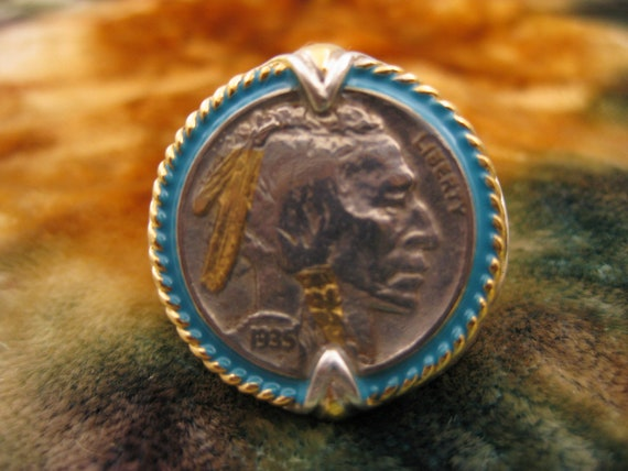 Ring Size 11 1 2 Sterling Silver 1935 Buffalo Nickel
