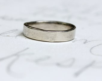 white gold wedding band ring . 14k white gold mens womens smooth wedding band . my love engraved secret message by peacesofindigo