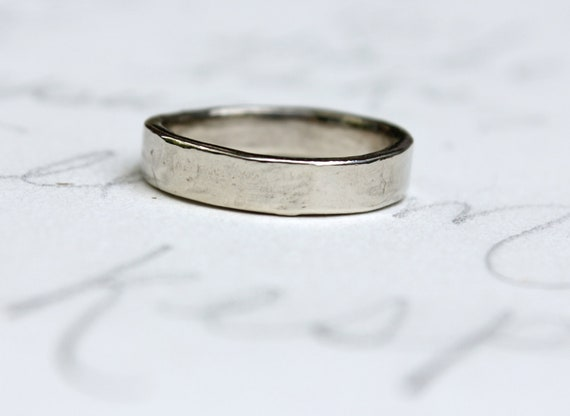 white gold wedding band ring . 14k white gold mens womens wedding band . smooth rustic wedding band . my love engraved secret message