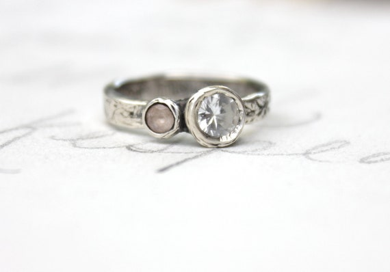 Items similar to sapphire engagement ring simple engagement ring peach wh