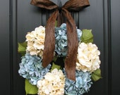 Blue Hydrangeas - Year Round Floral Wreath - Shabby Chic Decor - Modern Floral Decor - Summer Wreaths - Summer Hydrangeas