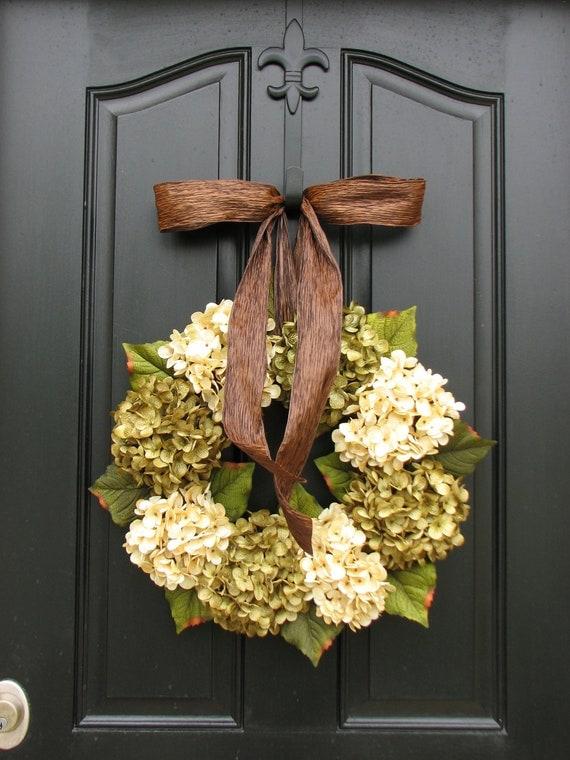 Wreaths - Hydrangea Wreath - Hydrangea Blooms - Wedding Decor - Wreath for Fall