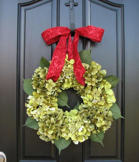 Winter Hydrangeas - Holiday Wreath - Wreaths - Hydrangea Wreath - Hydrangea Blooms - Wedding Decor - Christmas Wreaths