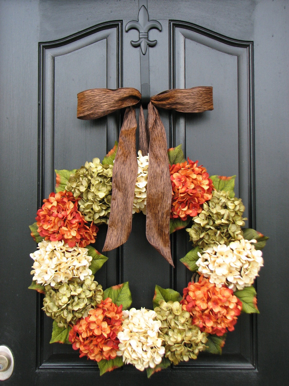 Fall hydrangea wreaths front door wreaths wreaths for front Fall autumn door wreaths