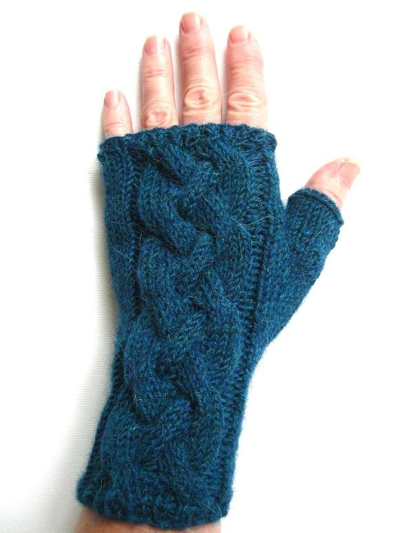 Fingerless Gloves for Women - Blue Green Heather