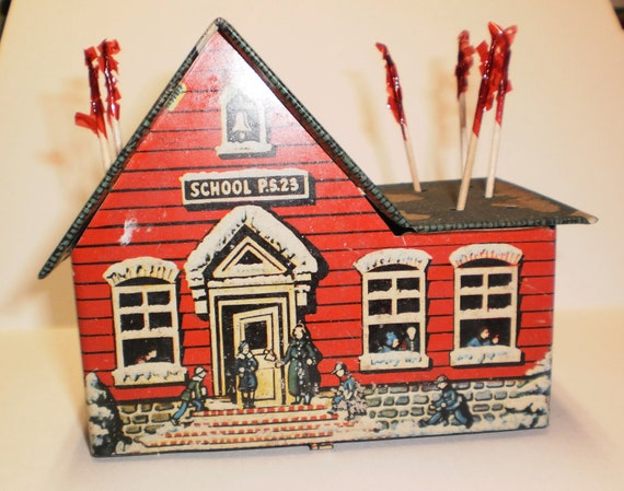Vintage Tin Toy Schoolhouse Bank Lollipop School House Red Green US Metal Toy MFG Co for Suckers Store Display or Train Set