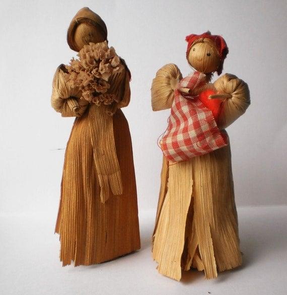 Corn Husk Dolls Appalachian Mountain Souvenir Farmhouse