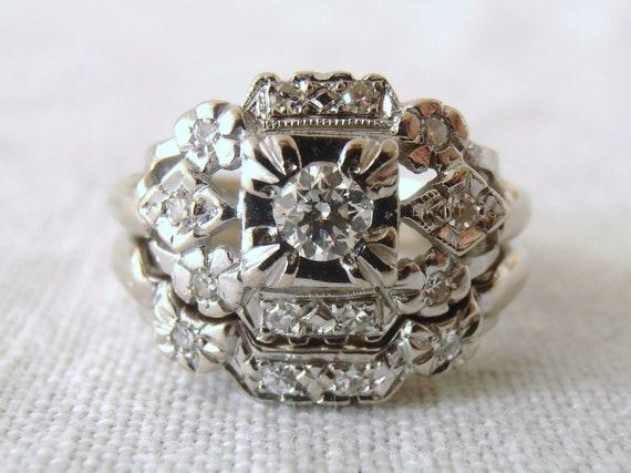 Reserved for Benn, Retro Vintage Diamond and 14k White Gold Engagement and Wedding Ring Set