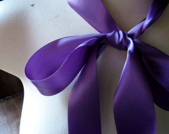 "3 yds. Purple Violet Satin Ribbon made in Japan  1.5"" wide Single Face for Bridal Sashes, Gift Wrap, Invitations"