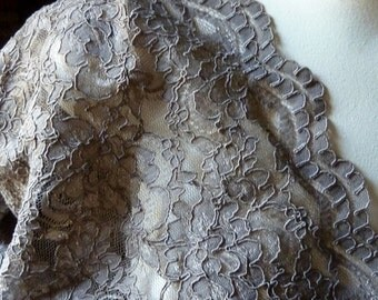SAMPLE Alencon Lace  in Mink Mocha for Bridal, Clutches, Skirts, Costumes