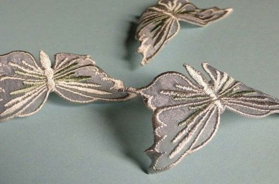 SALE 6  Butterfly Appliques in Silver Gray for Bridal, Headbands, Scrapbooking, Costume Design BF 111