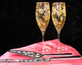 Wine Themed Wedding Cake Server & Champagne Flute Set, Grapevines, Rustic Wedding